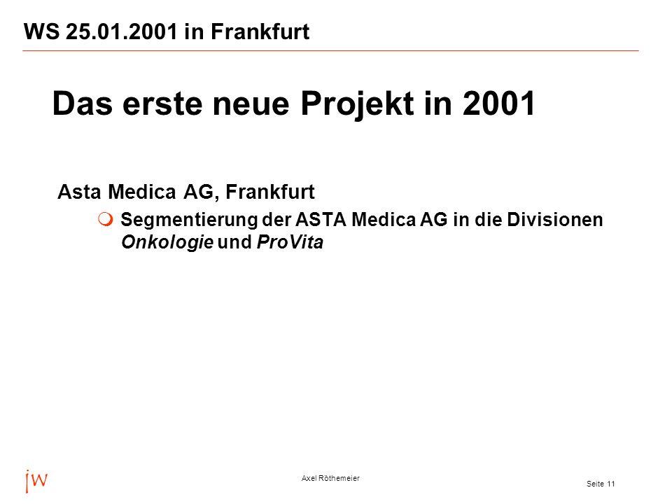 jw Axel Röthemeier Seite 11 WS 25.01.2001 in Frankfurt Asta Medica AG, Frankfurt Segmentierung der ASTA Medica AG in die Divisionen Onkologie und ProV