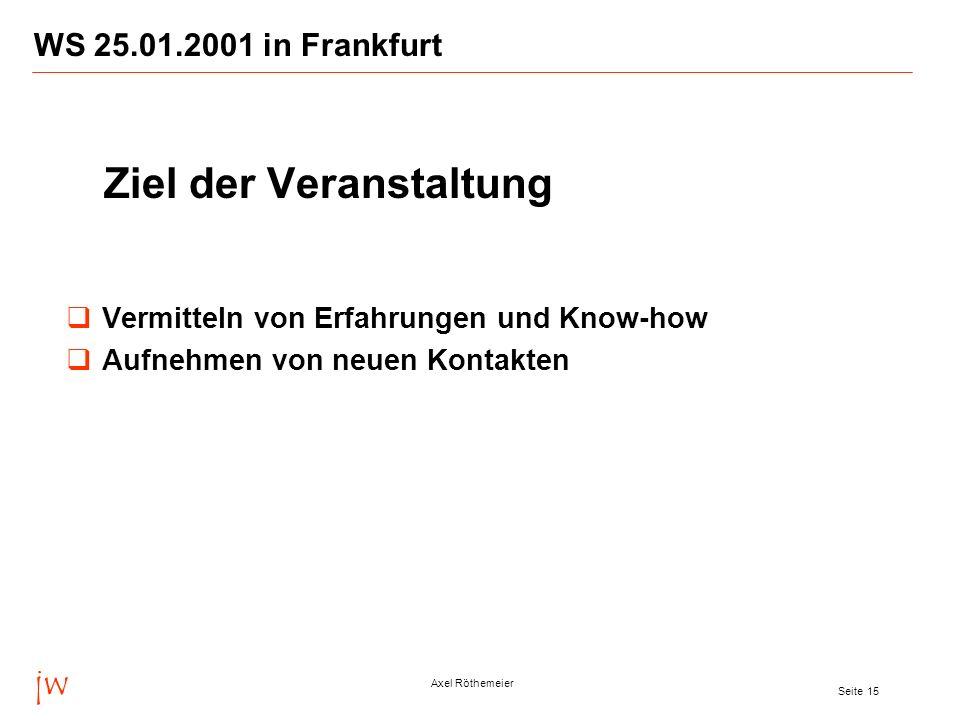 jw Axel Röthemeier Seite 15 WS 25.01.2001 in Frankfurt Ziel der Veranstaltung Vermitteln von Erfahrungen und Know-how Aufnehmen von neuen Kontakten