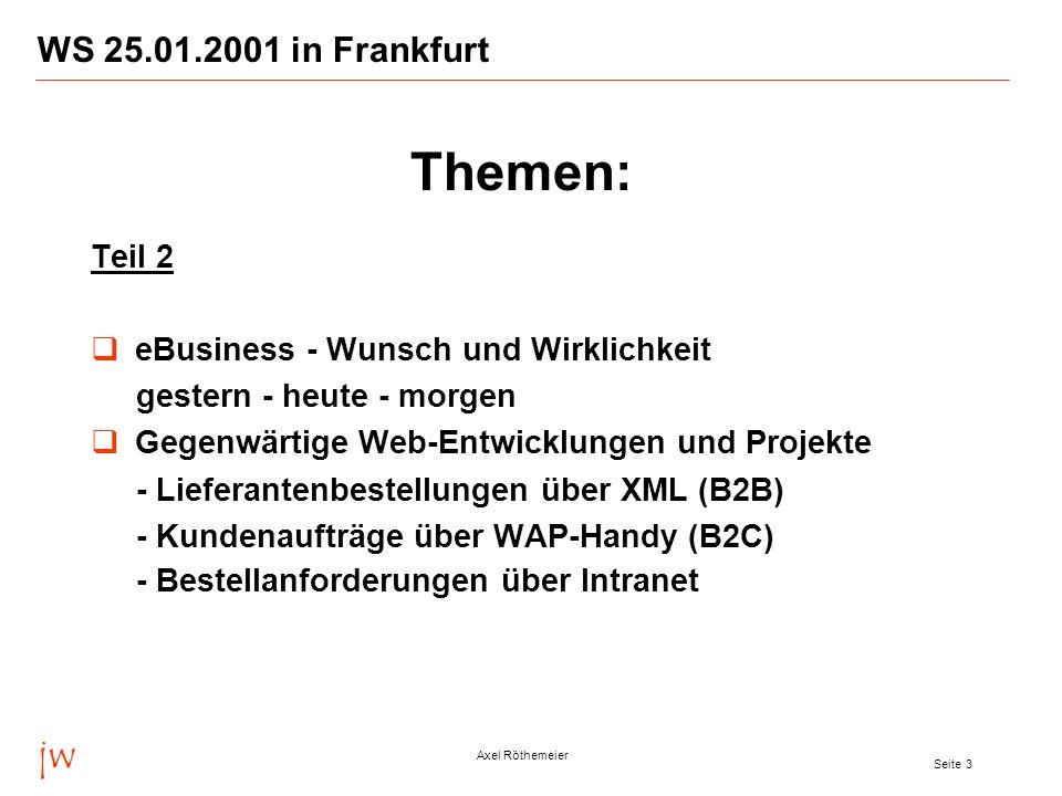 jw Axel Röthemeier Seite 3 WS 25.01.2001 in Frankfurt Teil 2 eBusiness - Wunsch und Wirklichkeit gestern - heute - morgen Gegenwärtige Web-Entwicklung