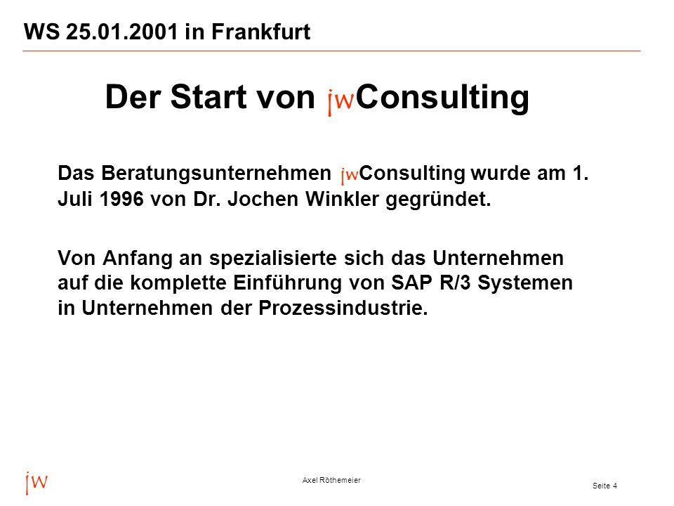 jw Axel Röthemeier Seite 4 WS 25.01.2001 in Frankfurt Das Beratungsunternehmen jw Consulting wurde am 1. Juli 1996 von Dr. Jochen Winkler gegründet. V