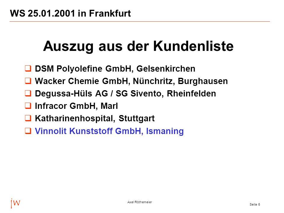 jw Axel Röthemeier Seite 6 WS 25.01.2001 in Frankfurt DSM Polyolefine GmbH, Gelsenkirchen Wacker Chemie GmbH, Nünchritz, Burghausen Degussa-Hüls AG /