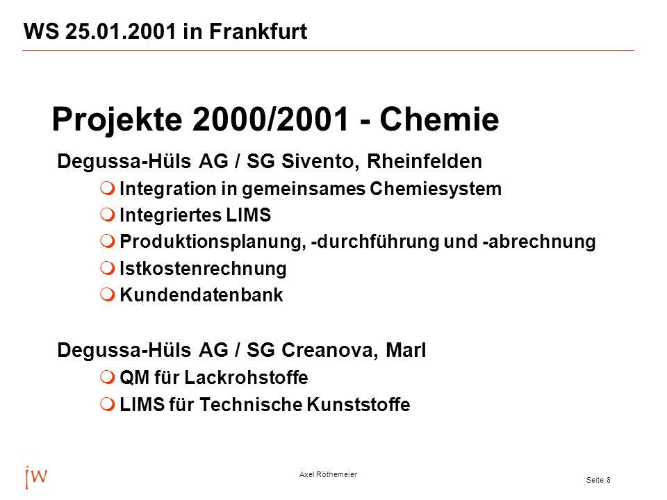jw Axel Röthemeier Seite 8 WS 25.01.2001 in Frankfurt Degussa-Hüls AG / SG Sivento, Rheinfelden Integration in gemeinsames Chemiesystem Integriertes L
