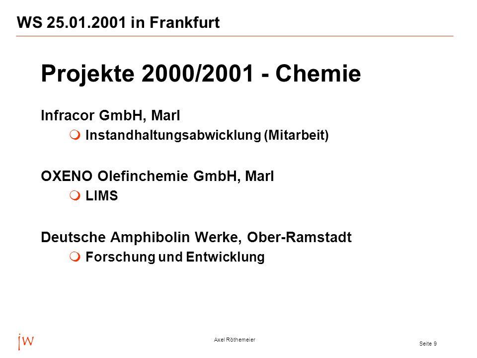 jw Axel Röthemeier Seite 9 WS 25.01.2001 in Frankfurt Infracor GmbH, Marl Instandhaltungsabwicklung (Mitarbeit) OXENO Olefinchemie GmbH, Marl LIMS Deu