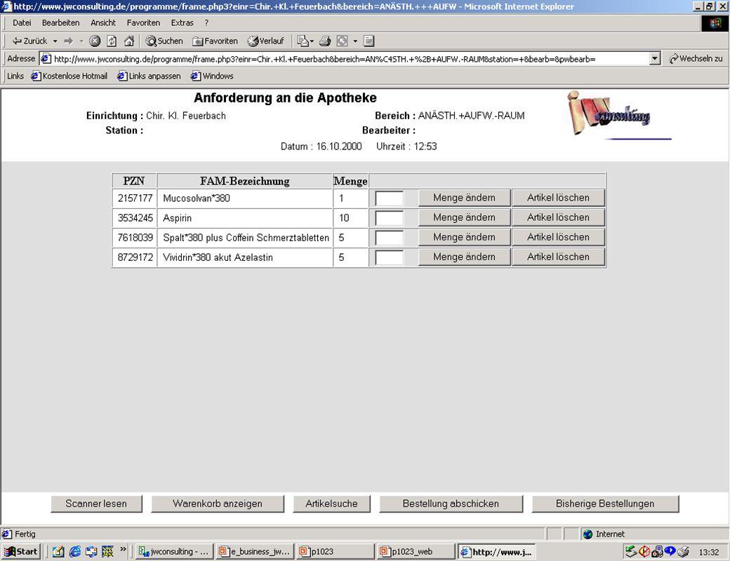Seite 1115.02.2001Dr. J. Winkler http://www.jwconsulting.de jw Entwicklungen 2000 - Medizin