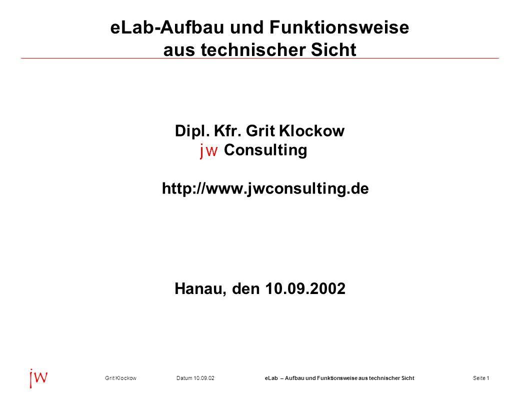 Seite 1Datum 10.09.02Grit KlockoweLab – Aufbau und Funktionsweise aus technischer Sicht jw eLab-Aufbau und Funktionsweise aus technischer Sicht Dipl.
