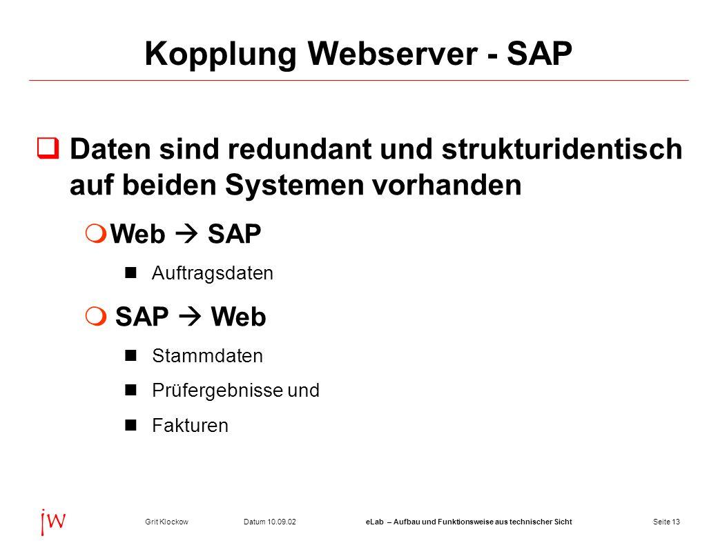 Seite 13Datum 10.09.02Grit KlockoweLab – Aufbau und Funktionsweise aus technischer Sicht jw Kopplung Webserver - SAP Daten sind redundant und struktur