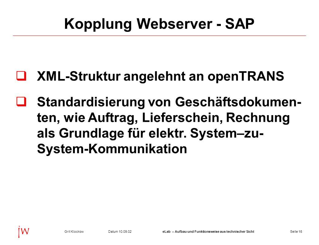 Seite 16Datum 10.09.02Grit KlockoweLab – Aufbau und Funktionsweise aus technischer Sicht jw Kopplung Webserver - SAP XML-Struktur angelehnt an openTRA