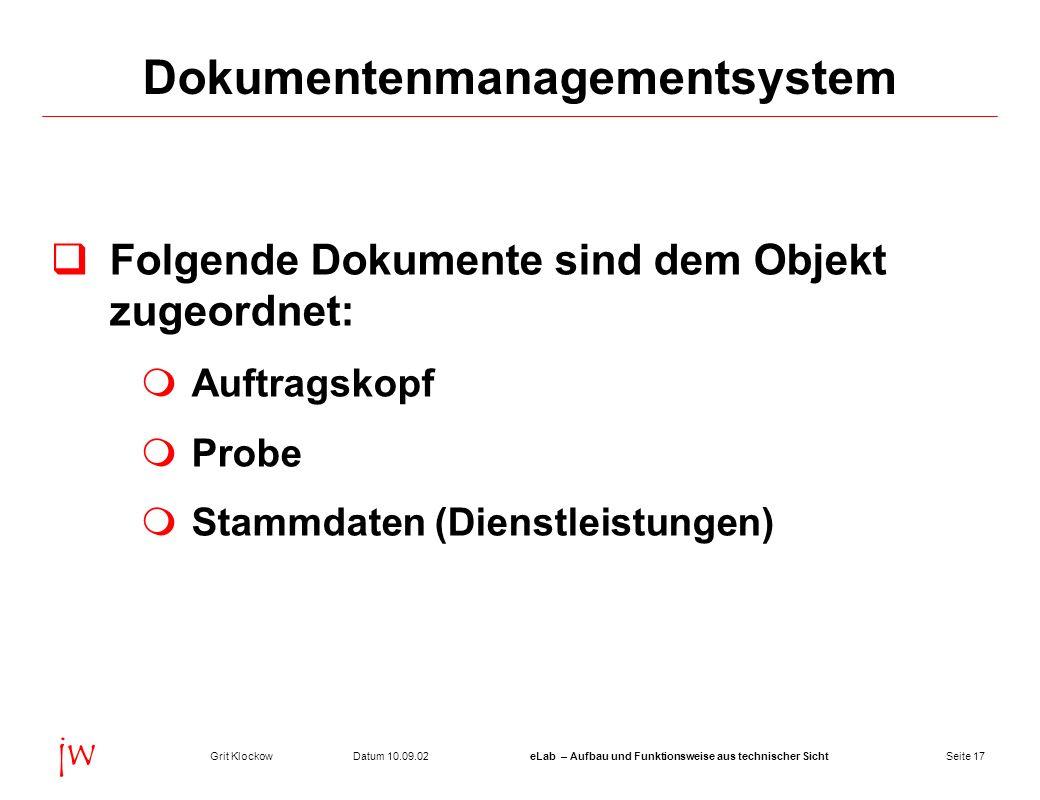 Seite 17Datum 10.09.02Grit KlockoweLab – Aufbau und Funktionsweise aus technischer Sicht jw Dokumentenmanagementsystem Folgende Dokumente sind dem Obj