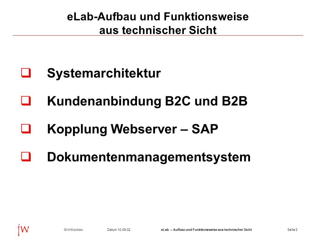 Seite 2Datum 10.09.02Grit KlockoweLab – Aufbau und Funktionsweise aus technischer Sicht jw eLab-Aufbau und Funktionsweise aus technischer Sicht System