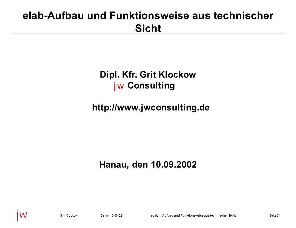 Seite 24Datum 10.09.02Grit KlockoweLab – Aufbau und Funktionsweise aus technischer Sicht jw elab-Aufbau und Funktionsweise aus technischer Sicht Dipl.