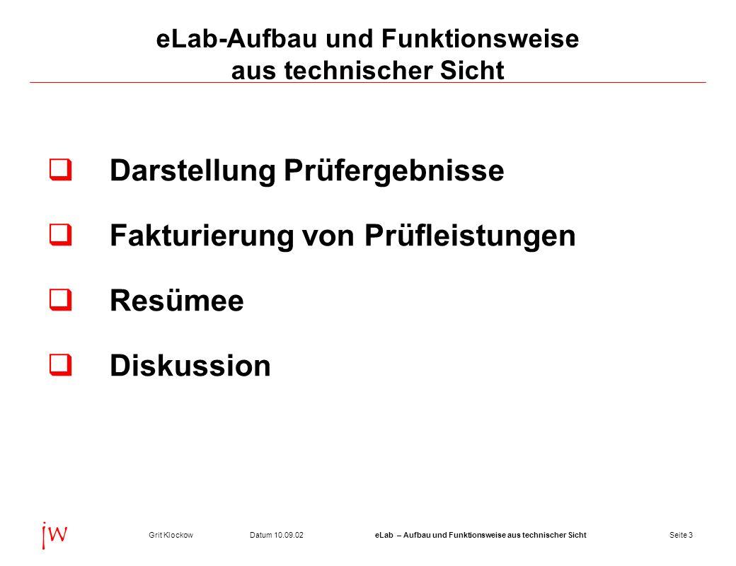 Seite 3Datum 10.09.02Grit KlockoweLab – Aufbau und Funktionsweise aus technischer Sicht jw eLab-Aufbau und Funktionsweise aus technischer Sicht Darste
