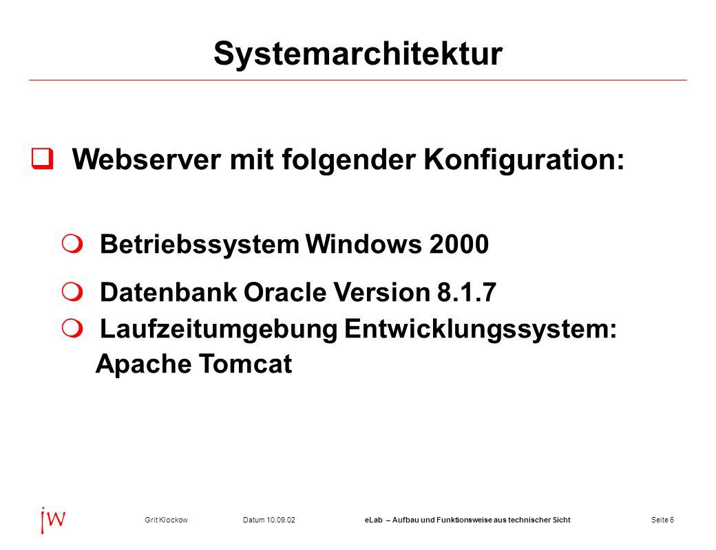 Seite 6Datum 10.09.02Grit KlockoweLab – Aufbau und Funktionsweise aus technischer Sicht jw Systemarchitektur Webserver mit folgender Konfiguration: Be