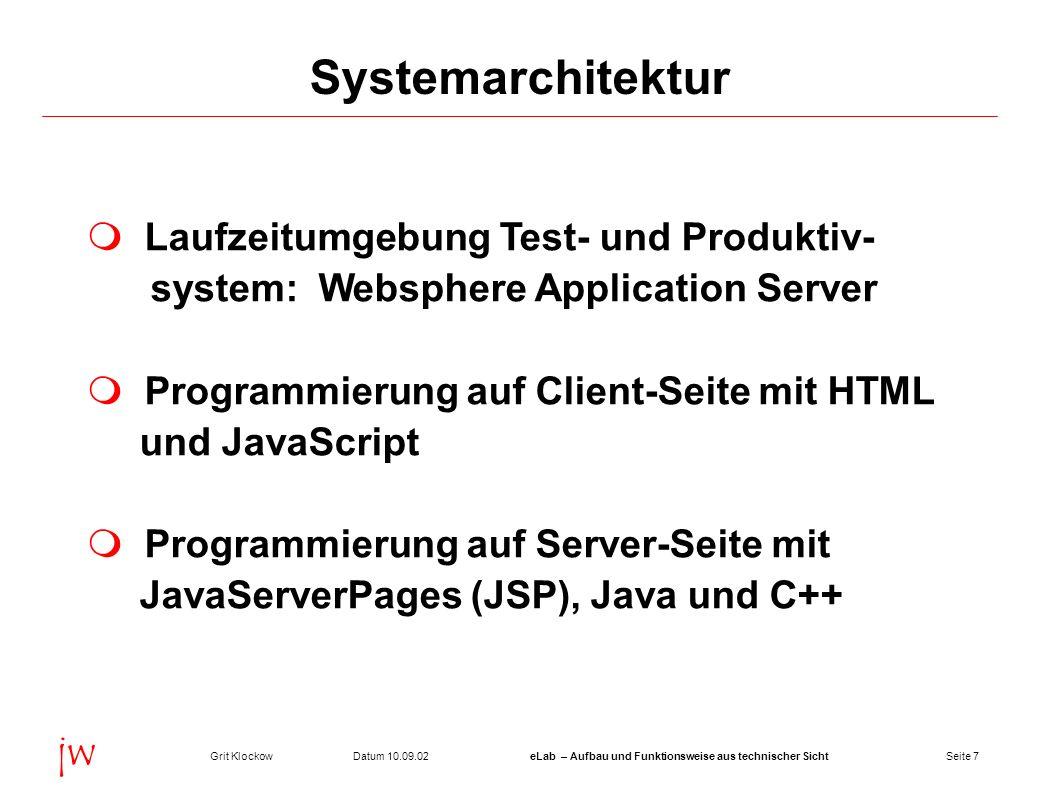 Seite 7Datum 10.09.02Grit KlockoweLab – Aufbau und Funktionsweise aus technischer Sicht jw Systemarchitektur Laufzeitumgebung Test- und Produktiv- sys