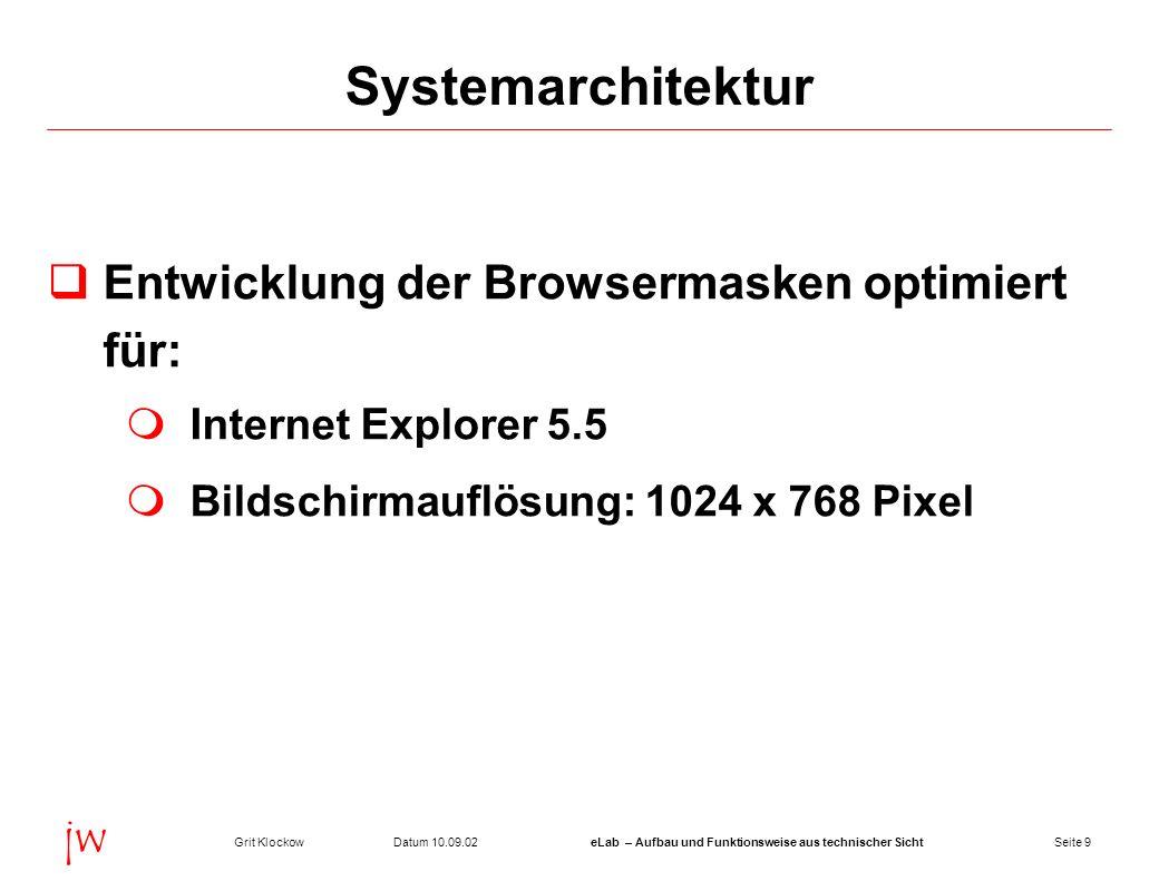 Seite 9Datum 10.09.02Grit KlockoweLab – Aufbau und Funktionsweise aus technischer Sicht jw Systemarchitektur Entwicklung der Browsermasken optimiert f