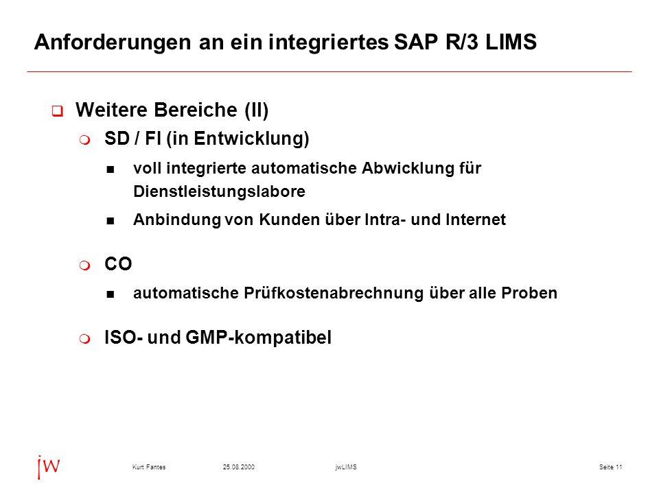 Seite 1125.08.2000Kurt FantesjwLIMS jw Anforderungen an ein integriertes SAP R/3 LIMS Weitere Bereiche (II) SD / FI (in Entwicklung) voll integrierte automatische Abwicklung für Dienstleistungslabore Anbindung von Kunden über Intra- und Internet CO automatische Prüfkostenabrechnung über alle Proben ISO- und GMP-kompatibel