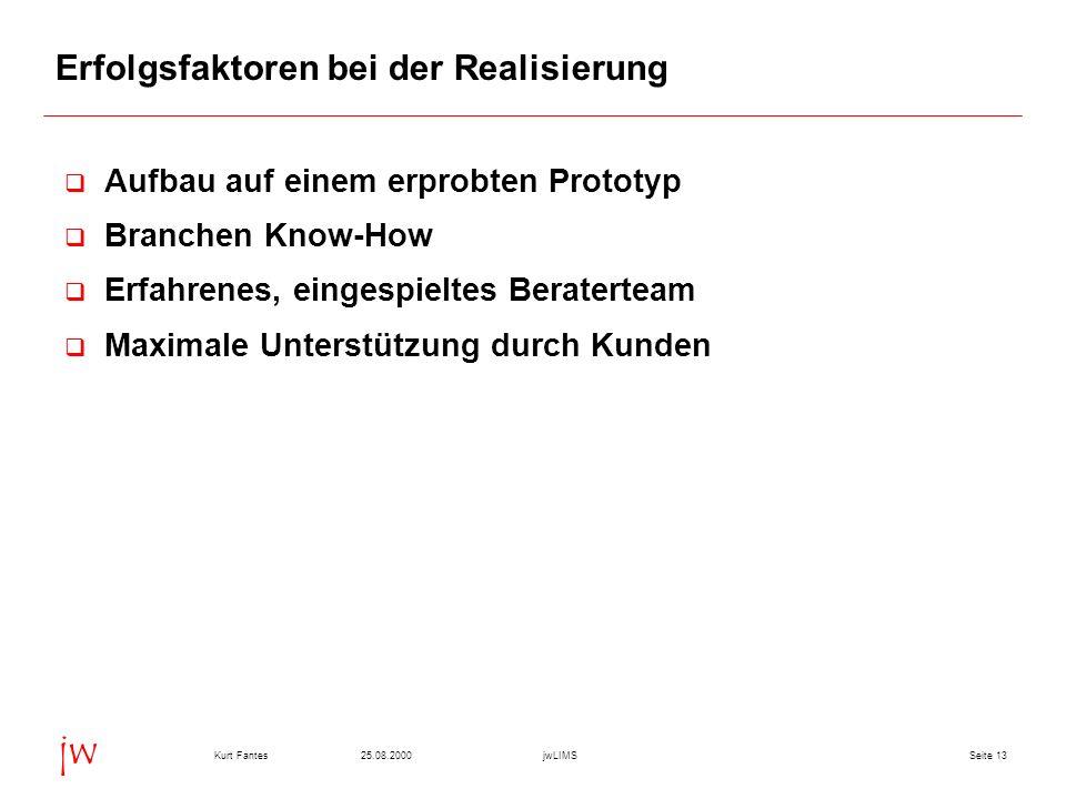 Seite 1325.08.2000Kurt FantesjwLIMS jw Erfolgsfaktoren bei der Realisierung Aufbau auf einem erprobten Prototyp Branchen Know-How Erfahrenes, eingespi