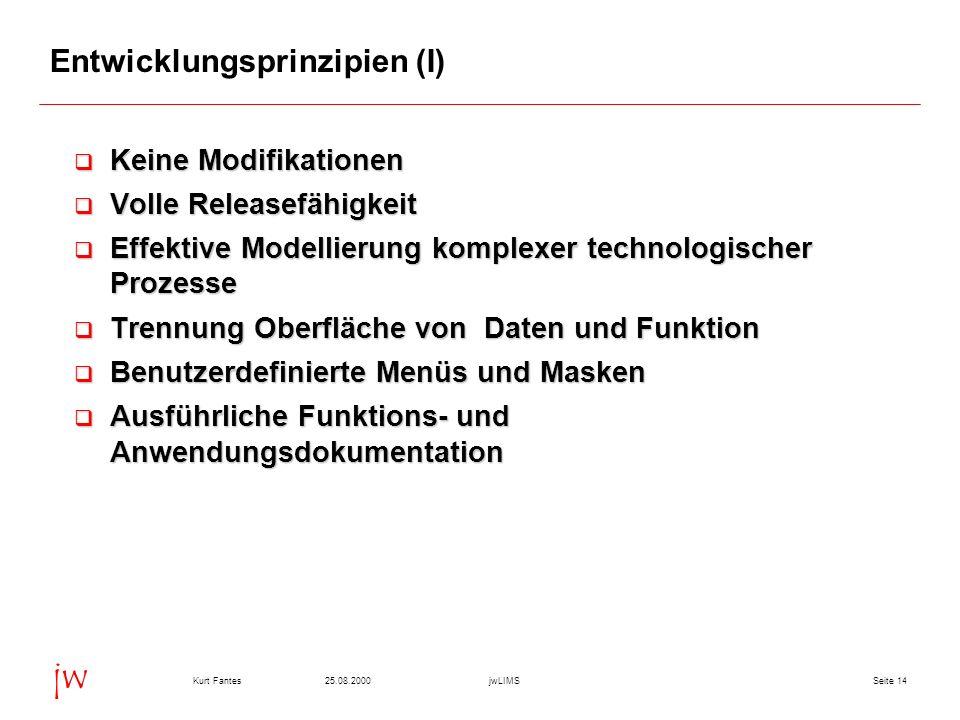 Seite 1425.08.2000Kurt FantesjwLIMS jw Entwicklungsprinzipien (I) Keine Modifikationen Keine Modifikationen Volle Releasefähigkeit Volle Releasefähigk