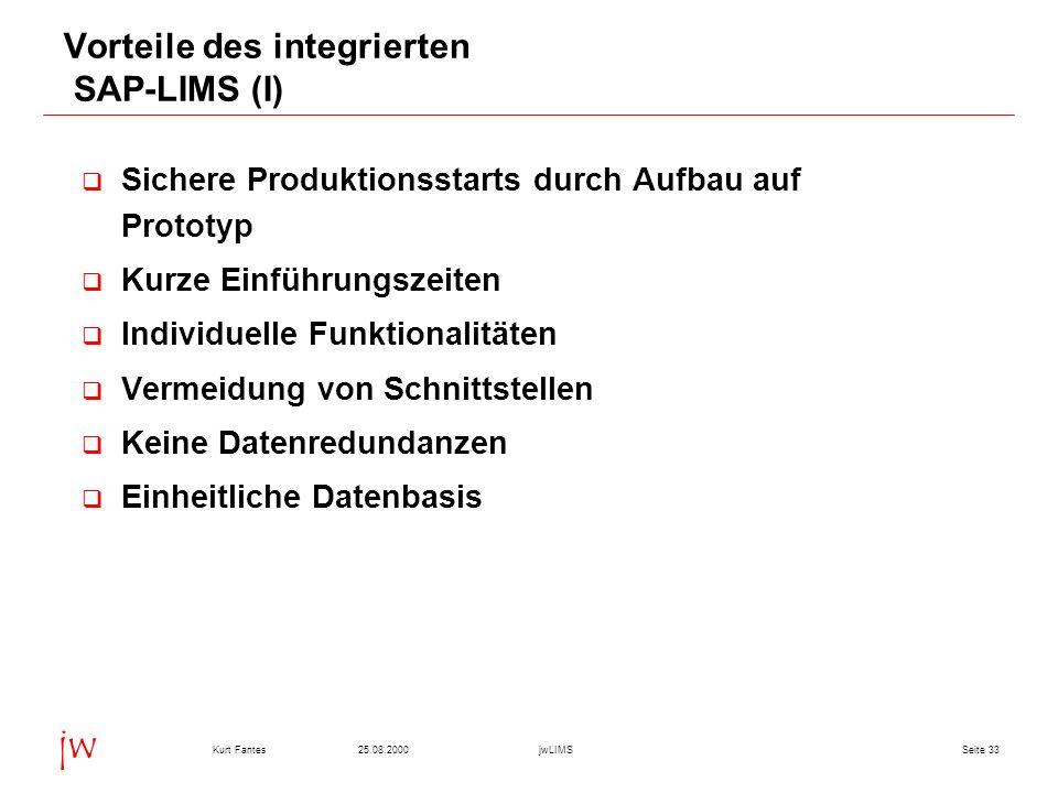 Seite 3325.08.2000Kurt FantesjwLIMS jw Vorteile des integrierten SAP-LIMS (I) Sichere Produktionsstarts durch Aufbau auf Prototyp Kurze Einführungszei