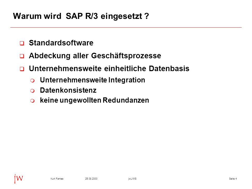 Seite 425.08.2000Kurt FantesjwLIMS jw Warum wird SAP R/3 eingesetzt ? q Standardsoftware q Abdeckung aller Geschäftsprozesse q Unternehmensweite einhe