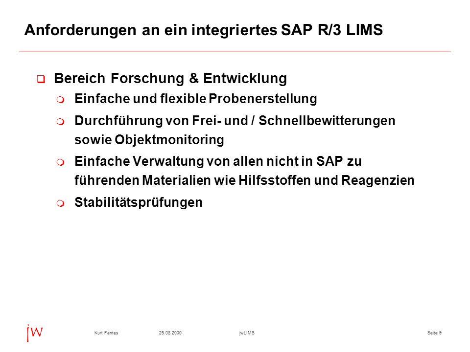 Seite 925.08.2000Kurt FantesjwLIMS jw Anforderungen an ein integriertes SAP R/3 LIMS Bereich Forschung & Entwicklung Einfache und flexible Probenerstellung Durchführung von Frei- und / Schnellbewitterungen sowie Objektmonitoring Einfache Verwaltung von allen nicht in SAP zu führenden Materialien wie Hilfsstoffen und Reagenzien Stabilitätsprüfungen