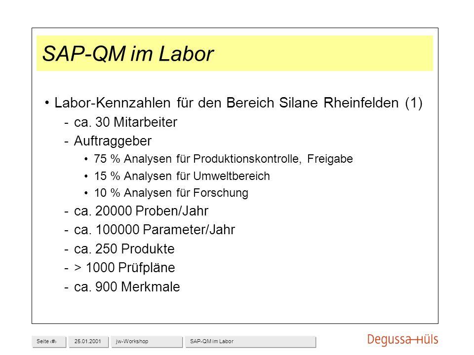 Seite 125.01.2001jw-WorkshopSAP-QM im Labor Labor-Kennzahlen für den Bereich Silane Rheinfelden (1) ca. 30 Mitarbeiter Auftraggeber 75 % Analysen fü