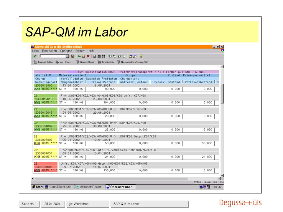 Seite 1225.01.2001jw-WorkshopSAP-QM im Labor