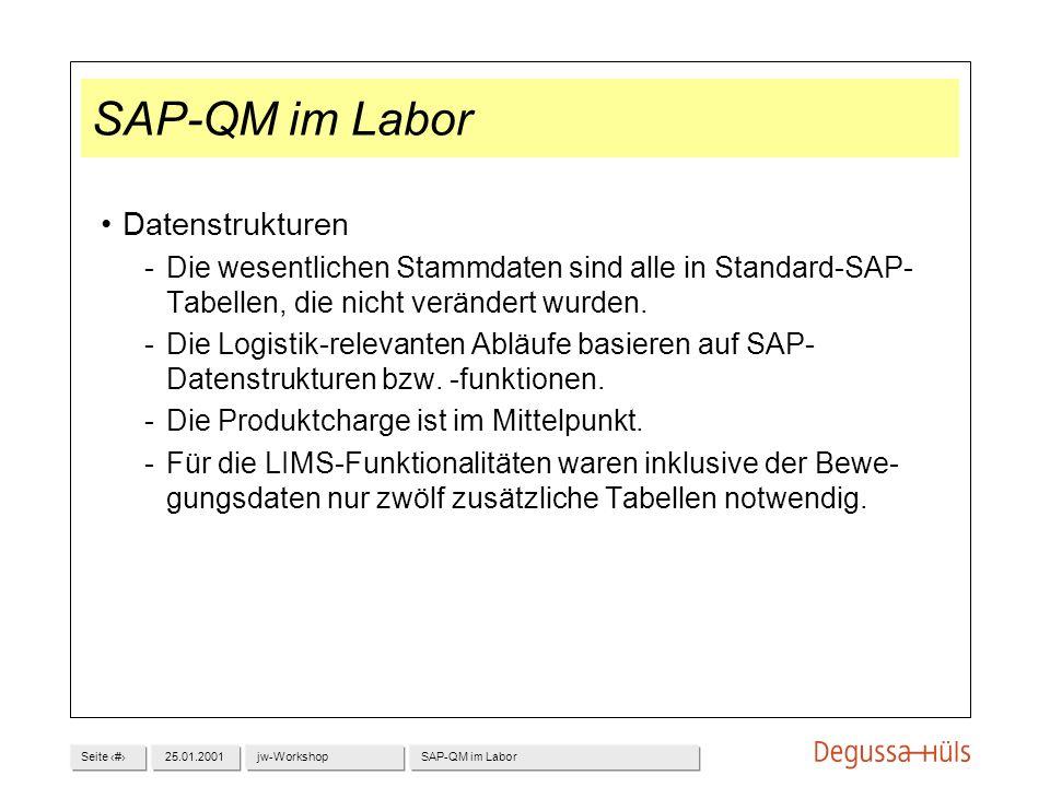 Seite 1325.01.2001jw-WorkshopSAP-QM im Labor Datenstrukturen Die wesentlichen Stammdaten sind alle in Standard-SAP- Tabellen, die nicht verändert wur