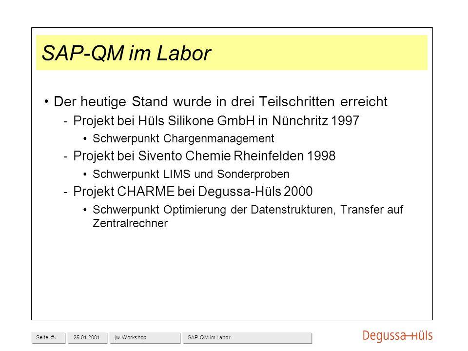 Seite 325.01.2001jw-WorkshopSAP-QM im Labor Der heutige Stand wurde in drei Teilschritten erreicht Projekt bei Hüls Silikone GmbH in Nünchritz 1997 S