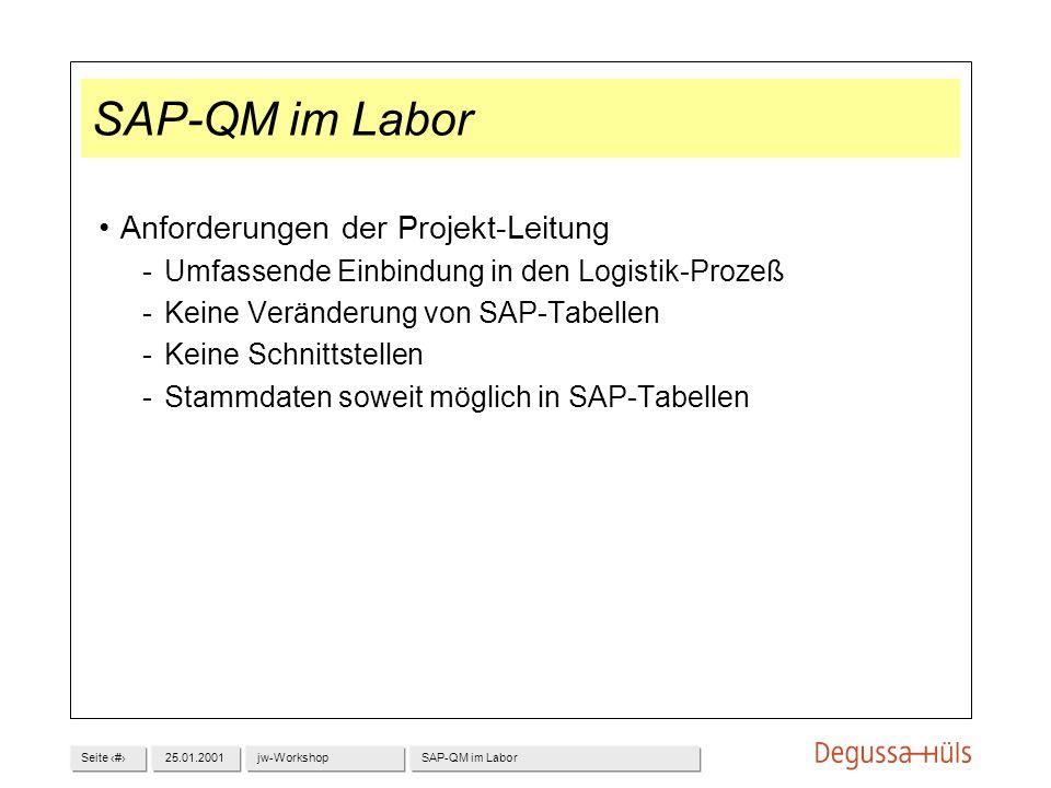Seite 525.01.2001jw-WorkshopSAP-QM im Labor Anforderungen der Projekt-Leitung Umfassende Einbindung in den Logistik-Prozeß Keine Veränderung von SAP