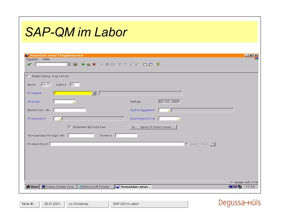 Seite 725.01.2001jw-WorkshopSAP-QM im Labor