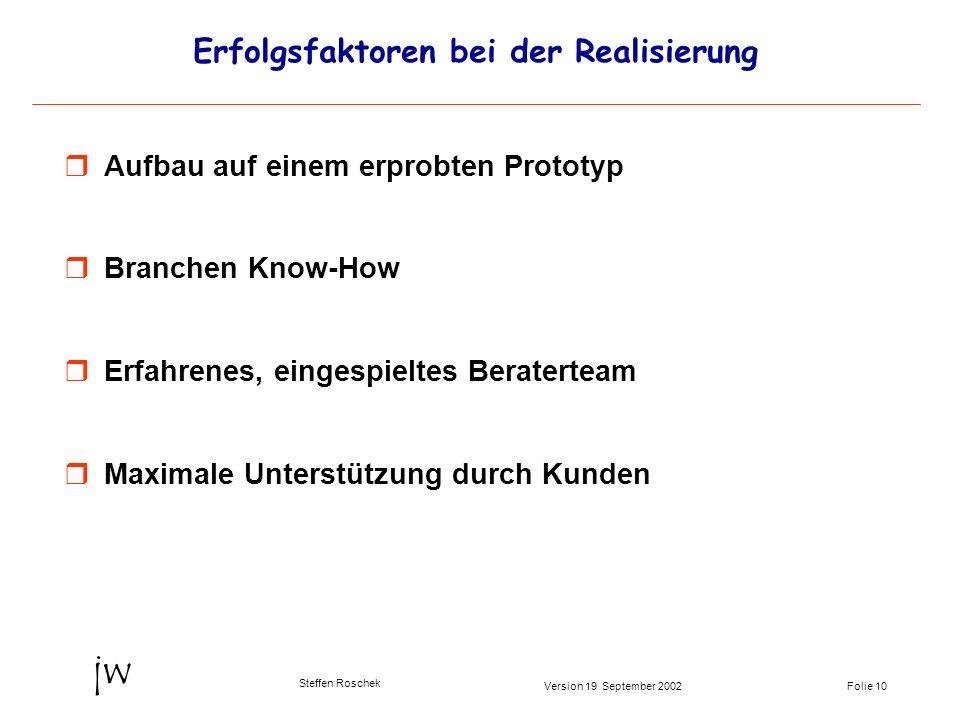 Folie 10Version 19 September 2002 jw Steffen Roschek Erfolgsfaktoren bei der Realisierung Aufbau auf einem erprobten Prototyp Branchen Know-How Erfahr
