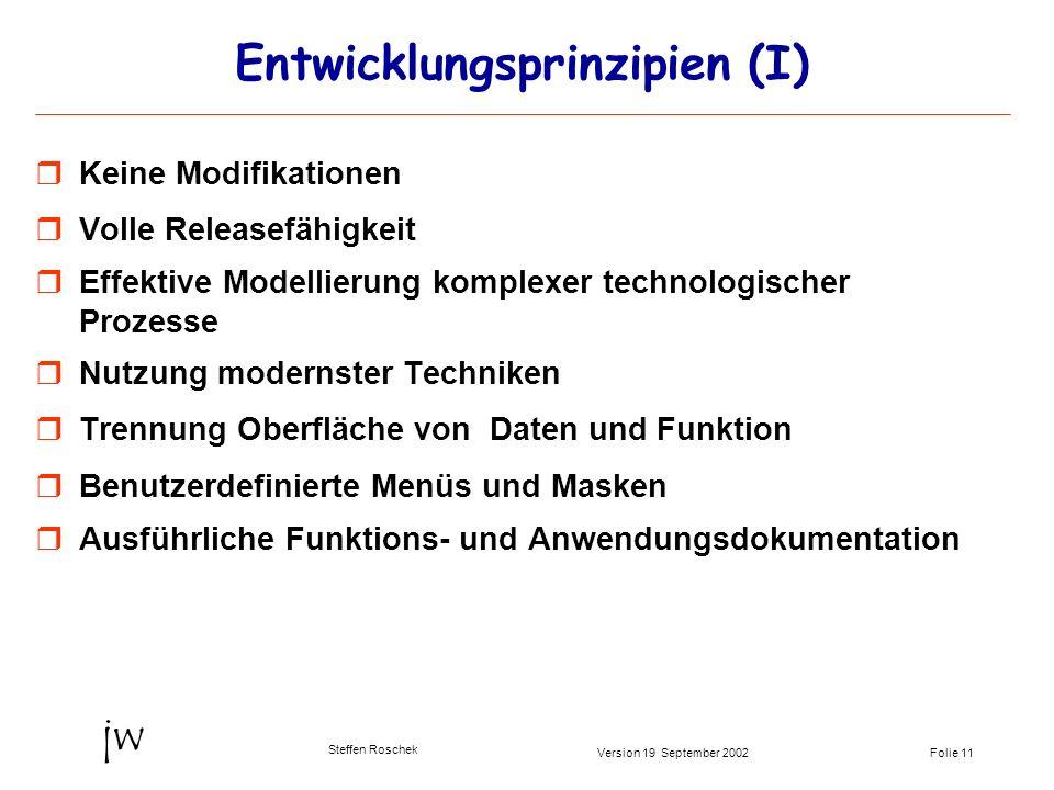 Folie 11Version 19 September 2002 jw Steffen Roschek Entwicklungsprinzipien (I) Keine Modifikationen Volle Releasefähigkeit Effektive Modellierung kom