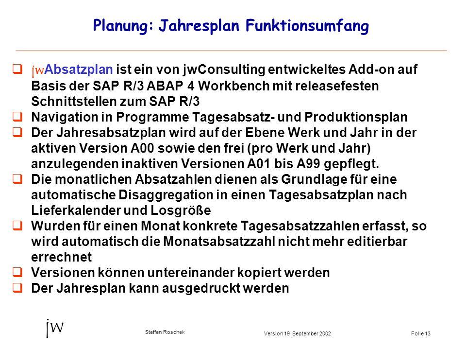 Folie 13Version 19 September 2002 jw Steffen Roschek Planung: Jahresplan Funktionsumfang jwAbsatzplan ist ein von jwConsulting entwickeltes Add-on auf