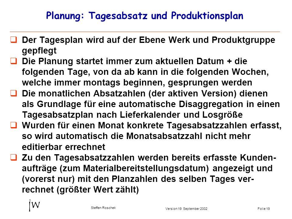 Folie 19Version 19 September 2002 jw Steffen Roschek Planung: Tagesabsatz und Produktionsplan Der Tagesplan wird auf der Ebene Werk und Produktgruppe