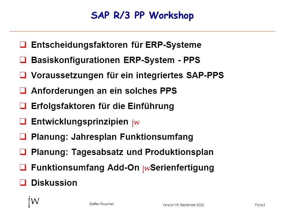 Folie 2Version 19 September 2002 jw Steffen Roschek SAP R/3 PP Workshop qEntscheidungsfaktoren für ERP-Systeme qBasiskonfigurationen ERP-System - PPS