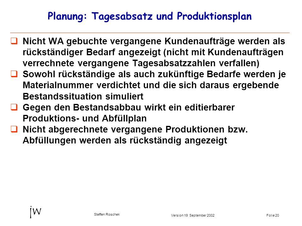 Folie 20Version 19 September 2002 jw Steffen Roschek Planung: Tagesabsatz und Produktionsplan Nicht WA gebuchte vergangene Kundenaufträge werden als r