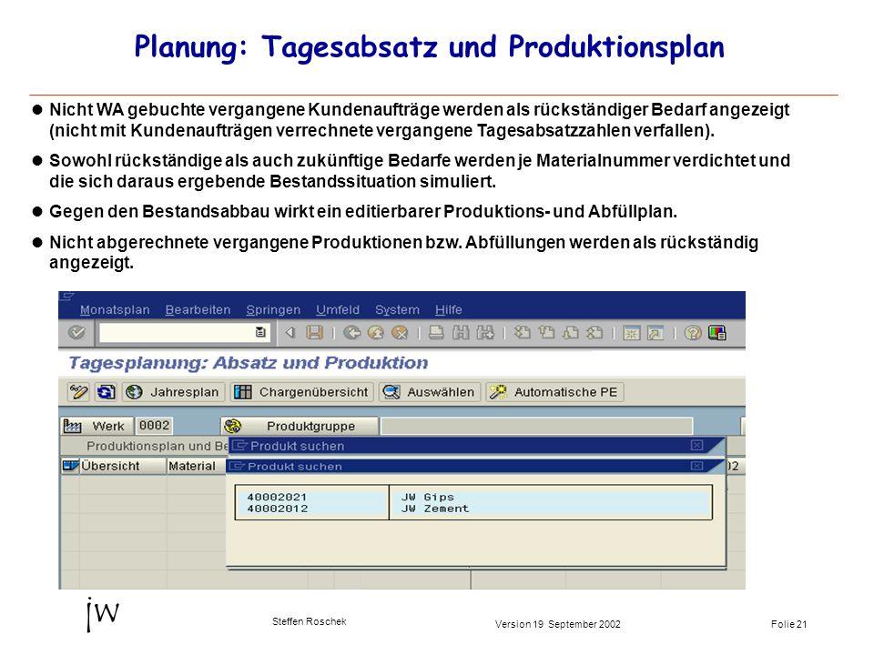 Folie 21Version 19 September 2002 jw Steffen Roschek Planung: Tagesabsatz und Produktionsplan Nicht WA gebuchte vergangene Kundenaufträge werden als r