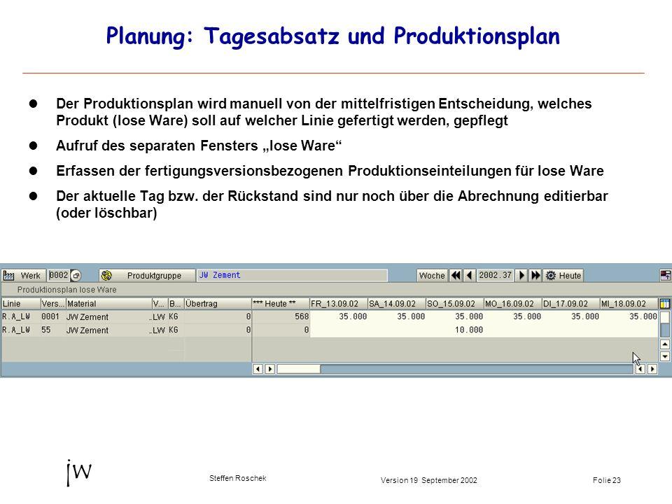 Folie 23Version 19 September 2002 jw Steffen Roschek Planung: Tagesabsatz und Produktionsplan Der Produktionsplan wird manuell von der mittelfristigen