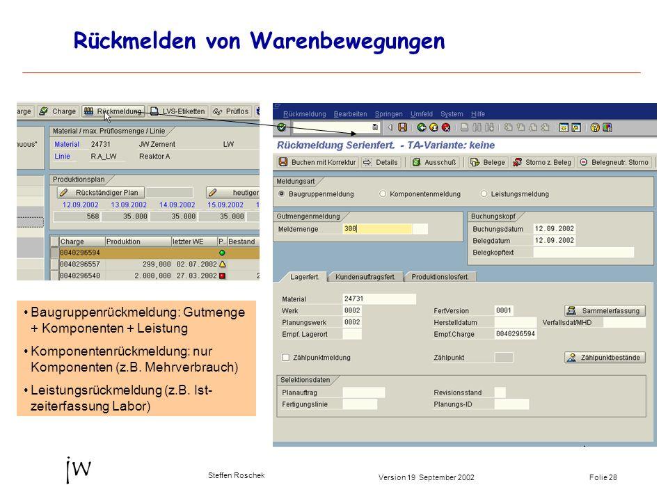 Folie 28Version 19 September 2002 jw Steffen Roschek Rückmelden von Warenbewegungen Baugruppenrückmeldung: Gutmenge + Komponenten + Leistung Komponent