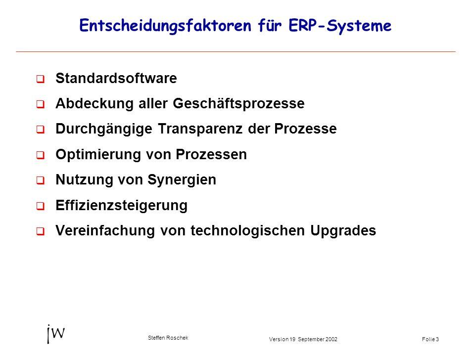 Folie 3Version 19 September 2002 jw Steffen Roschek Entscheidungsfaktoren für ERP-Systeme q Standardsoftware q Abdeckung aller Geschäftsprozesse q Dur