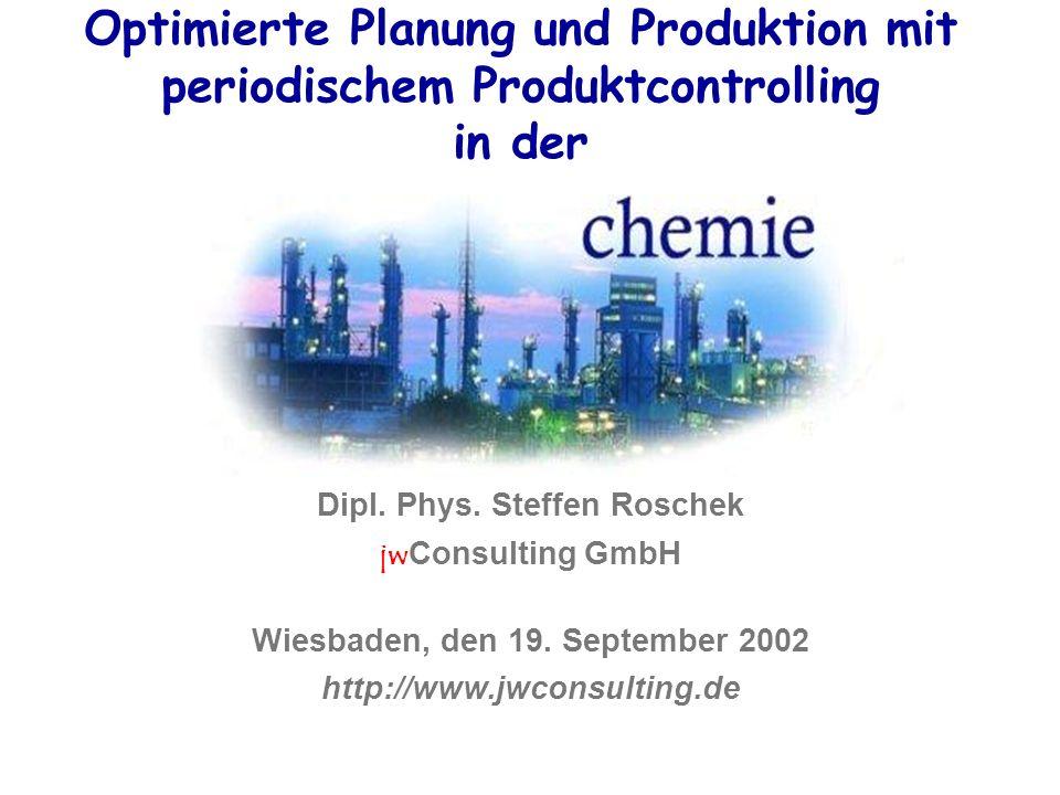 Optimierte Planung und Produktion mit periodischem Produktcontrolling in der Dipl. Phys. Steffen Roschek jw Consulting GmbH Wiesbaden, den 19. Septemb
