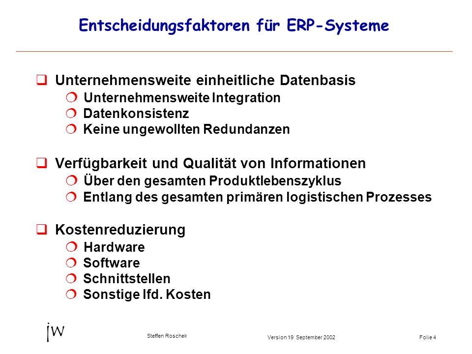 Folie 4Version 19 September 2002 jw Steffen Roschek Entscheidungsfaktoren für ERP-Systeme qUnternehmensweite einheitliche Datenbasis Unternehmensweite