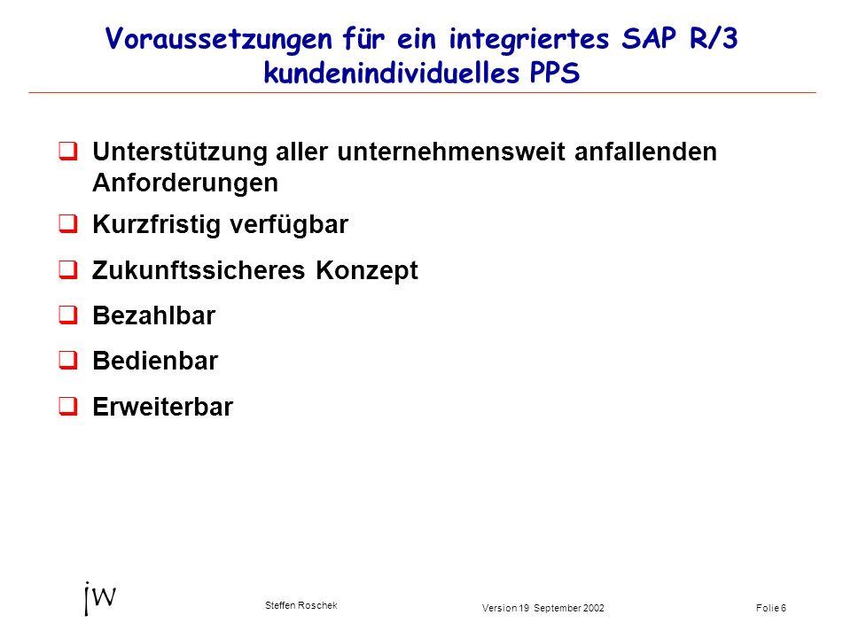 Folie 6Version 19 September 2002 jw Steffen Roschek Voraussetzungen für ein integriertes SAP R/3 kundenindividuelles PPS qUnterstützung aller unterneh