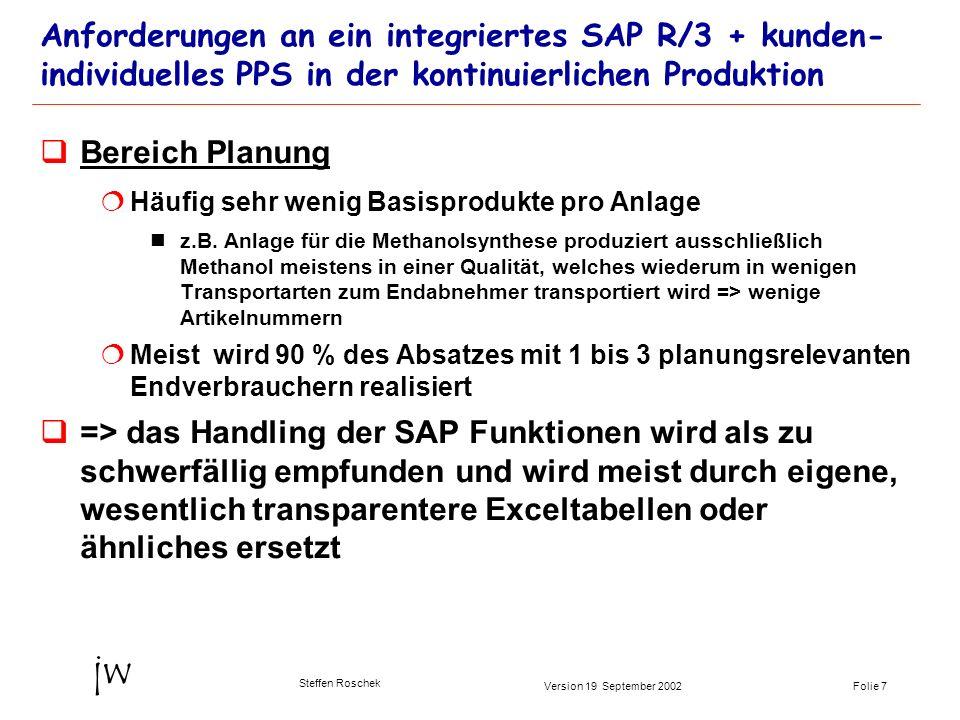 Folie 7Version 19 September 2002 jw Steffen Roschek Anforderungen an ein integriertes SAP R/3 + kunden- individuelles PPS in der kontinuierlichen Prod