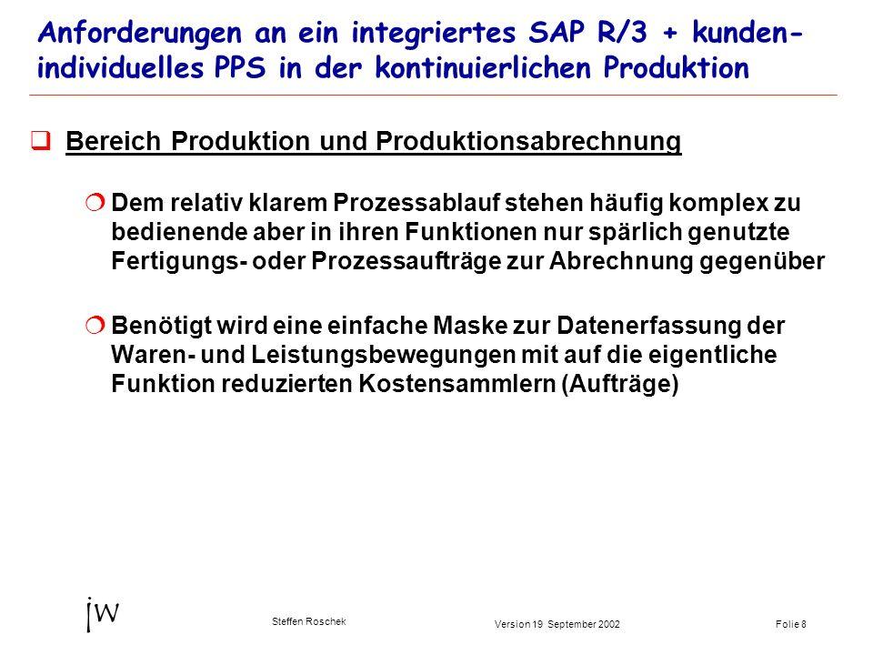 Folie 8Version 19 September 2002 jw Steffen Roschek Anforderungen an ein integriertes SAP R/3 + kunden- individuelles PPS in der kontinuierlichen Prod