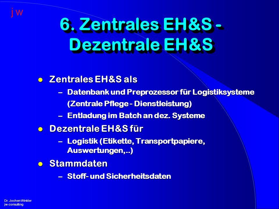 l Zentrales EH&S als –Datenbank und Preprozessor für Logistiksysteme (Zentrale Pflege - Dienstleistung) –Entladung im Batch an dez. Systeme l Dezentra