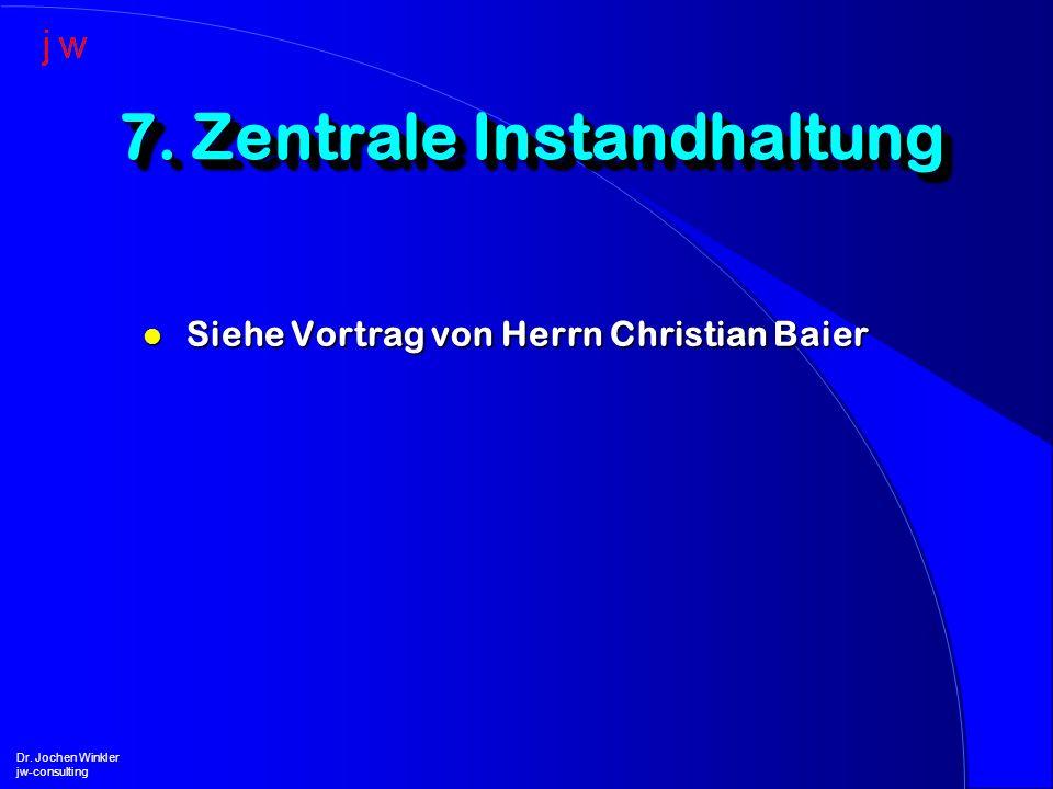 l Siehe Vortrag von Herrn Christian Baier 7. Zentrale Instandhaltung Dr. Jochen Winkler jw-consulting