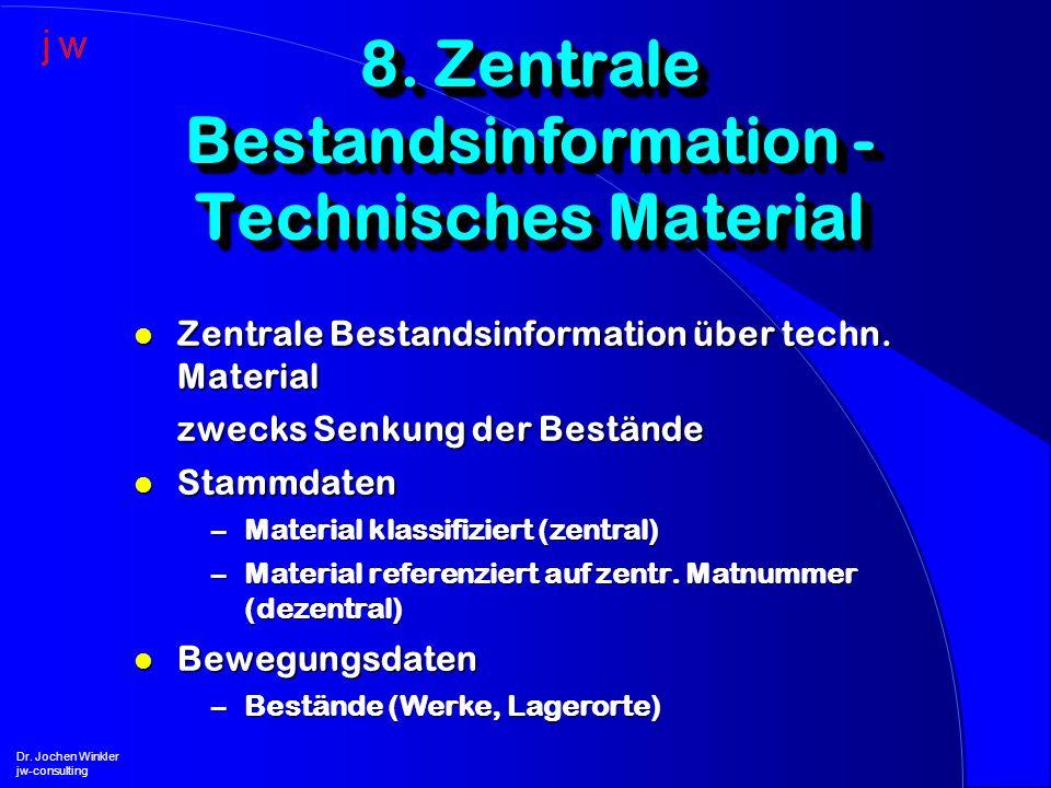 l Zentrale Bestandsinformation über techn. Material zwecks Senkung der Bestände l Stammdaten –Material klassifiziert (zentral) –Material referenziert