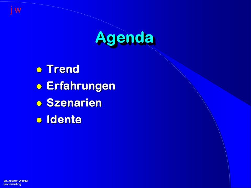 AgendaAgenda l Trend l Erfahrungen l Szenarien l Idente Dr. Jochen Winkler jw-consulting