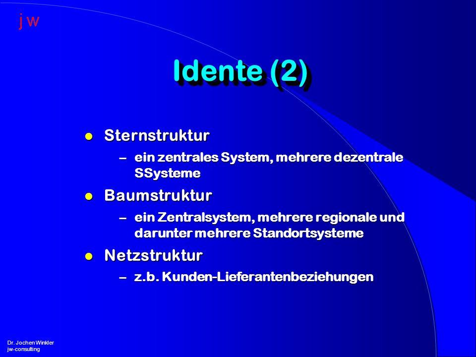 l Sternstruktur –ein zentrales System, mehrere dezentrale SSysteme l Baumstruktur –ein Zentralsystem, mehrere regionale und darunter mehrere Standorts